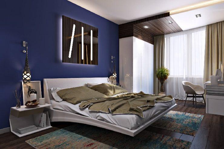 Освещение в синей спальне хай-тек