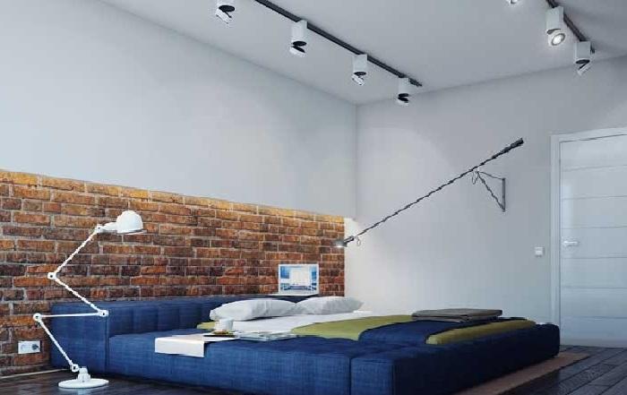 Освещение в синей спальне лофт