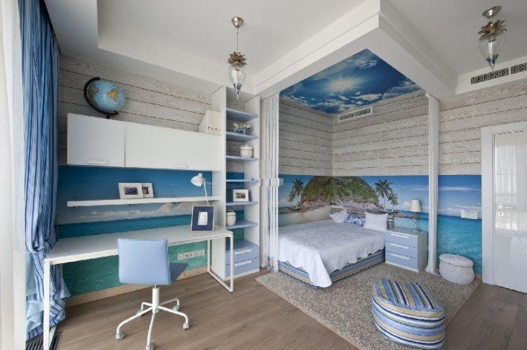 Отделка спальни в морском стиле