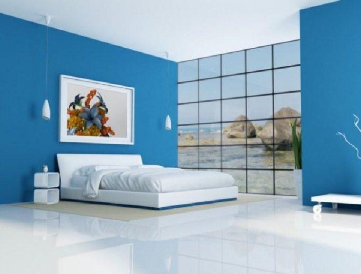 Синяя спальня в стиле хай-тек
