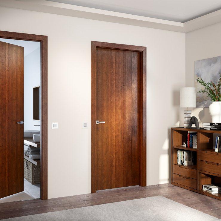 Комната с дверями коричневого цвета