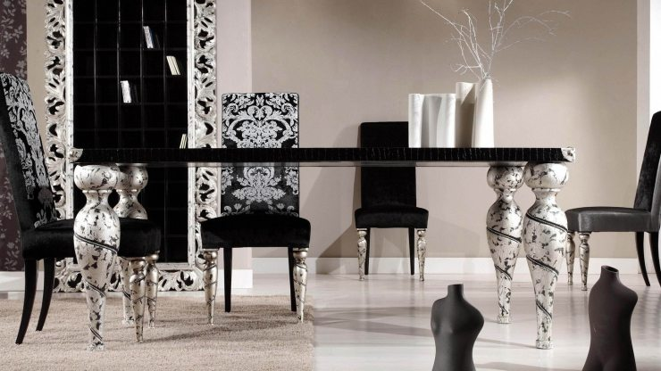 Чёрно-белый интерьер в стиле ар-деко
