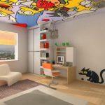 Просторная детская с ярким потолком