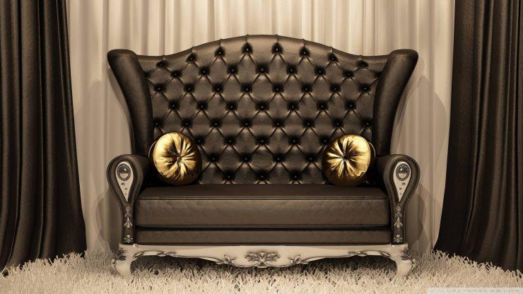 Кожаный стёганый диван ар-деко
