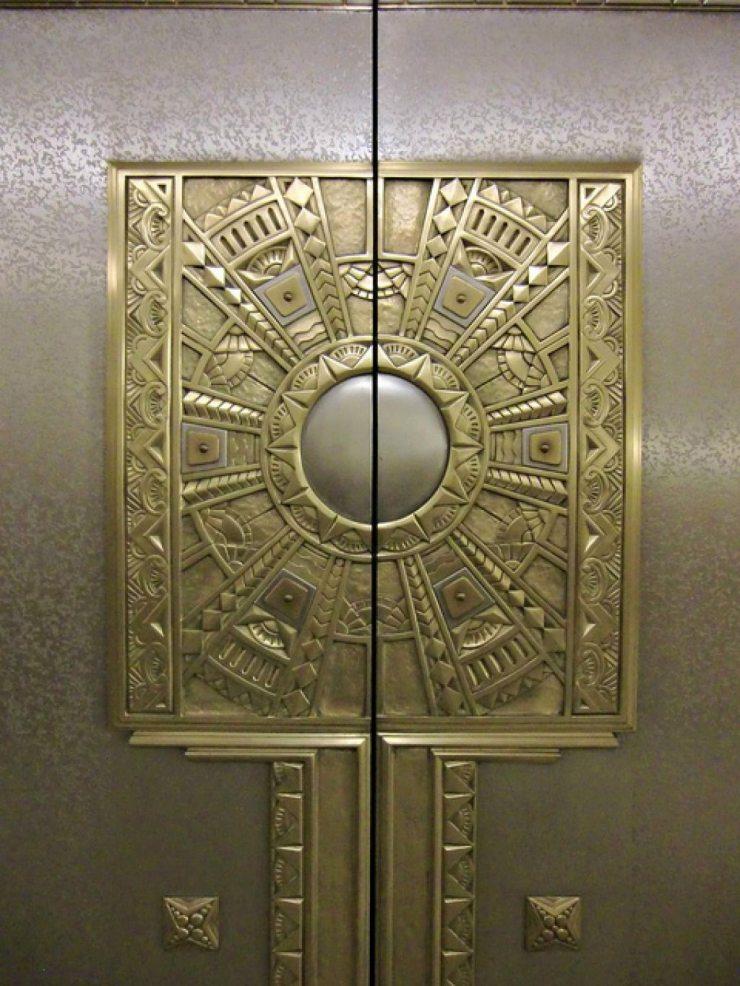 Дверь лифта c латунью в стиле ар-деко