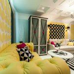 Гостиная в жёлто-черно-белой гамме