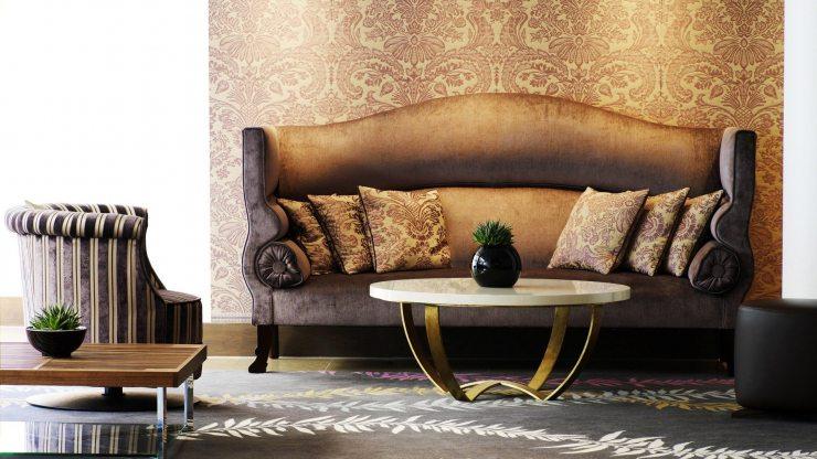 Шёлковые обои из ткани в стиле ар-деко