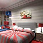 Спальня в серо-коралловых тонах