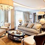 Пример потолочного освещения в гостиной ар-деко