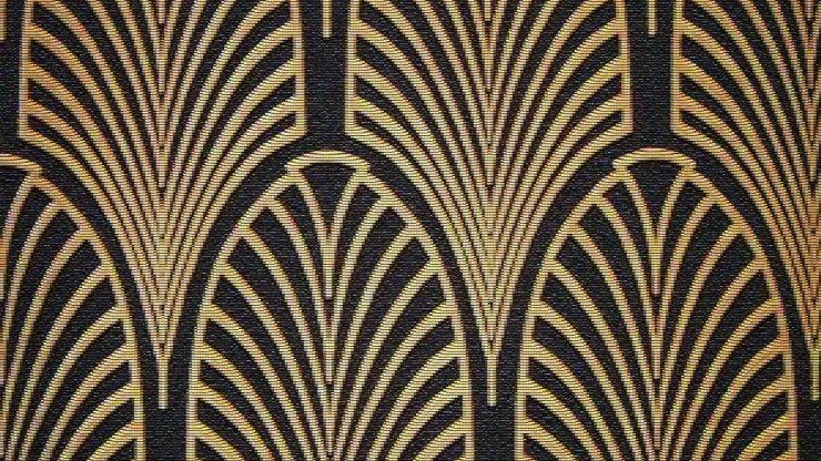 Стилизованный растительный мотив на ткани в стиле ар-деко