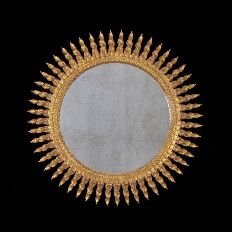 Винтажная рама зеркала sunburst с лучами в стиле ар-деко