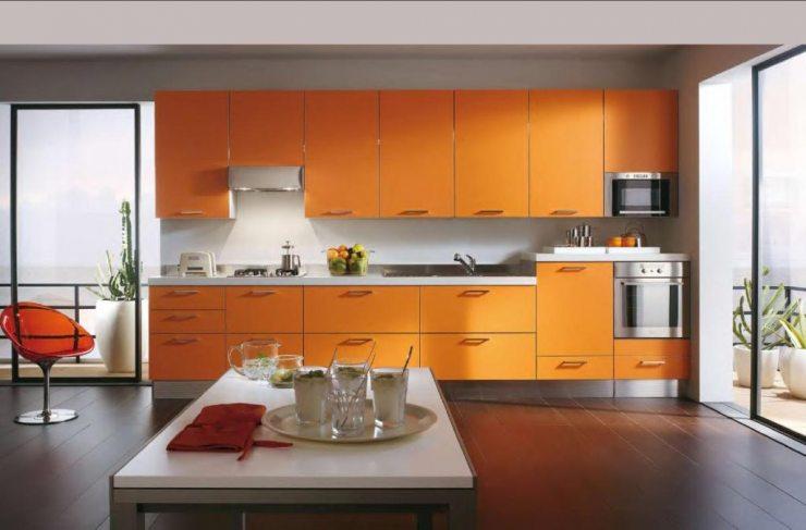 Оранжевый цвет в дизайне кухни 2018
