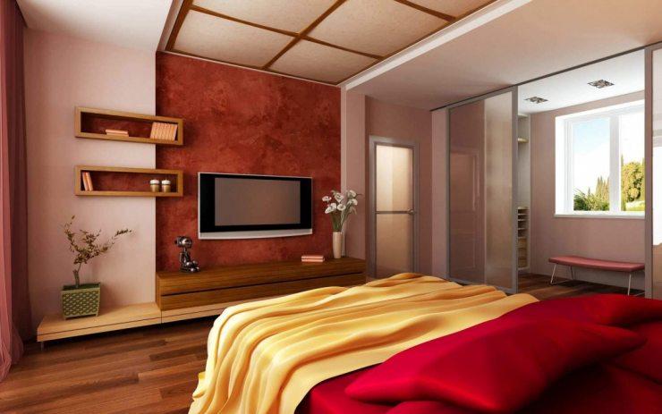 Спальня в красных тонах