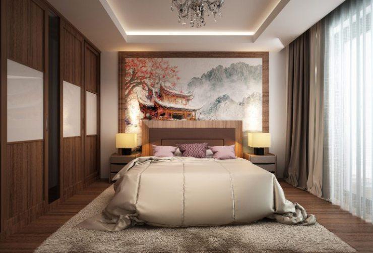 Большое акварельное полотно в спальне
