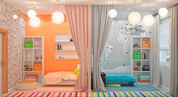 Цветовое зонирование детской
