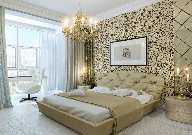 Картина в сдержанном стиле над изголовьем кровати