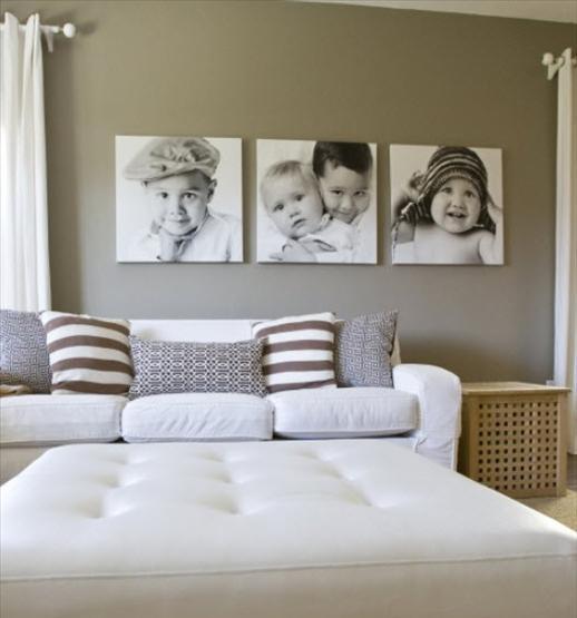 Картины с изображением детей на стене в спальне
