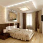 Разноуровневый потолок в спальне светлых тонов