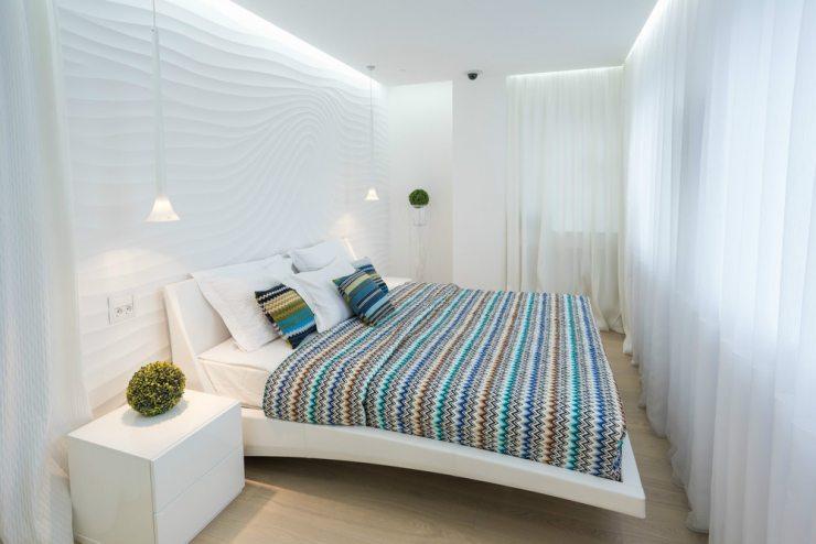 Пример скандинавского интерьера для светлой спальни