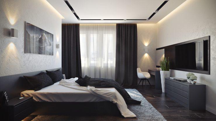 Современная спальня, оформленная в светлой гамме