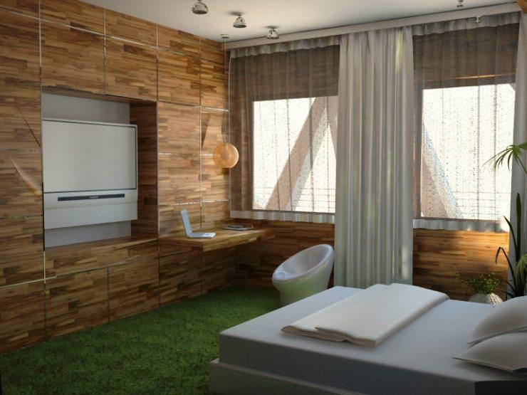 Спальня в эко-стиле с акцентом на белых тонах