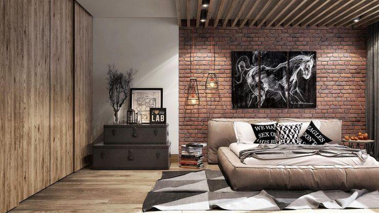 Спальня в стиле лофт с преобладанием белого