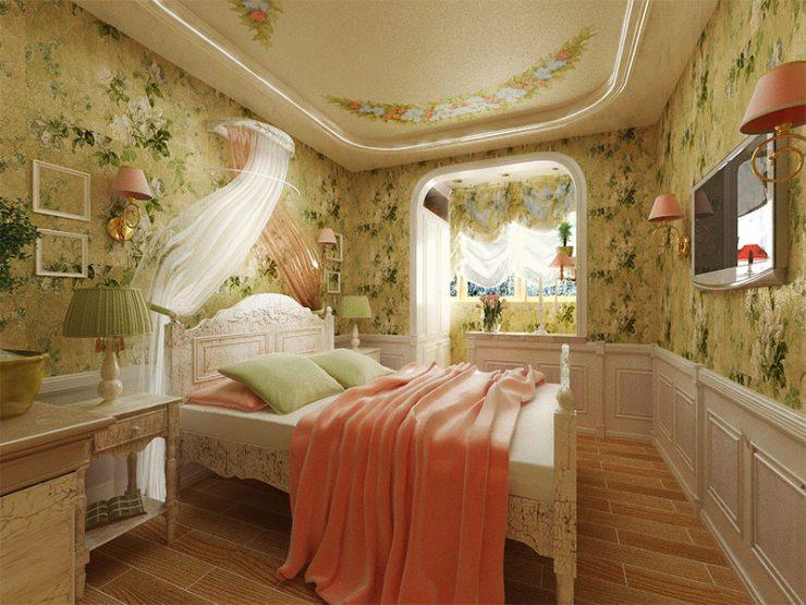 Спальня, офорлеменная в стиле прованс