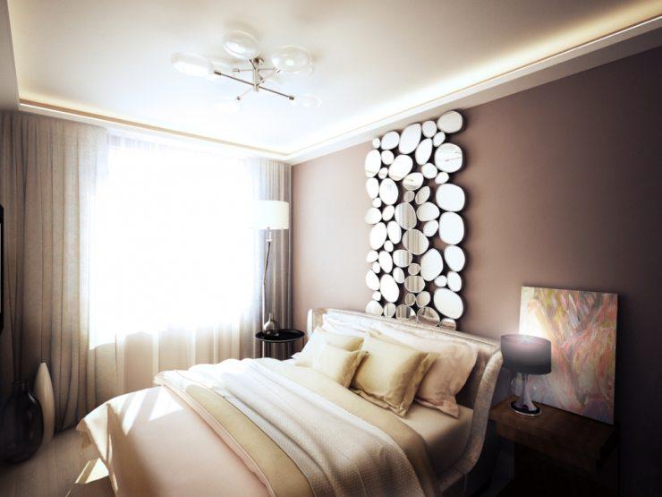 Декоративные зеркала в спальне