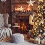 Новогодний дизайн елки и камина