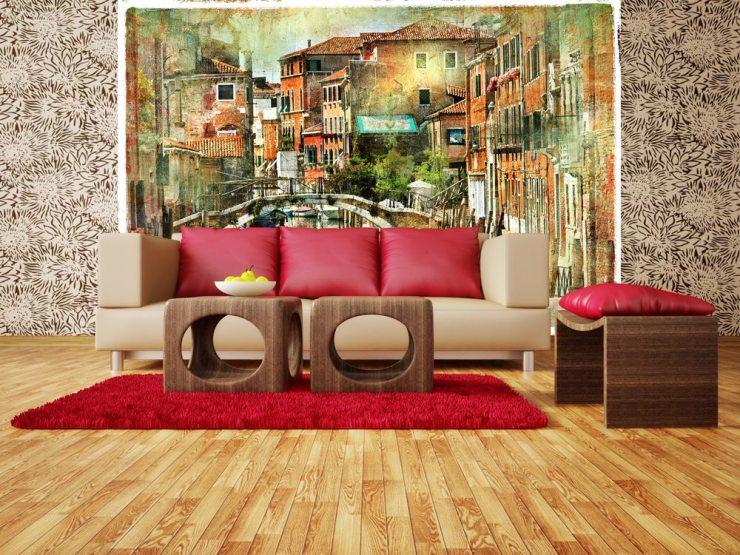 Гостиная в коричнево-красных тонах с фотообоями