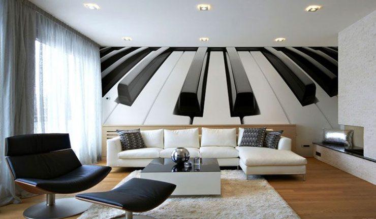 Интерьер гостиной в чёрно-белых тонах