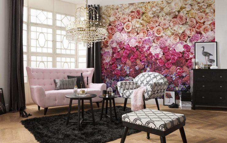 Фотообои с изображением цветов в гостиной
