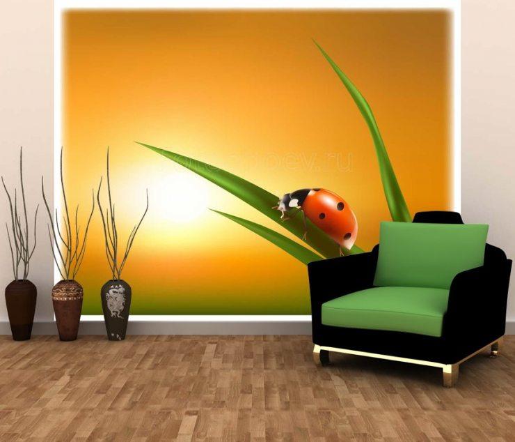 Изображение божьей коровки на фотообоях в гостиной
