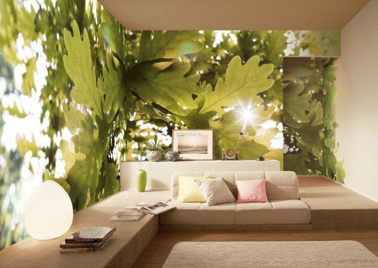 Изображение листвы на фотообоях гостиной