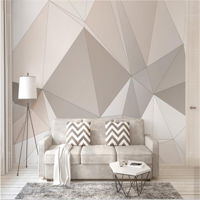 Геометрический рисунок фотообоев в гостиной