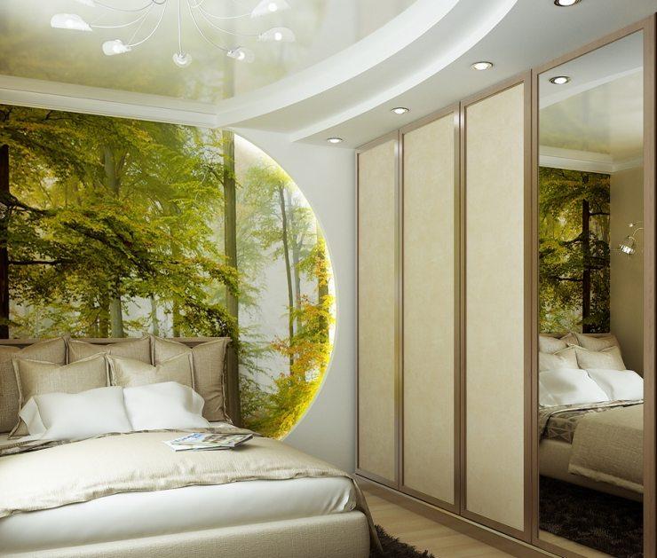 Фотообои с изображением пейзажа за изголовьем кровати