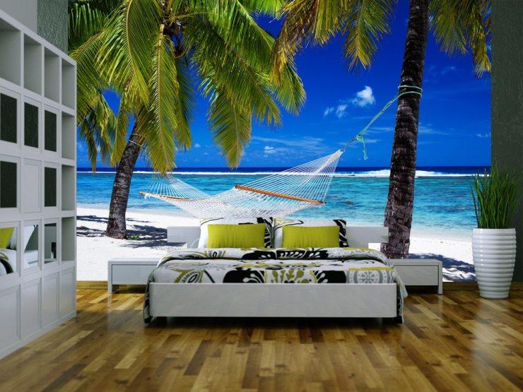 Фотообои с изображением пляжа, гамака и пальм
