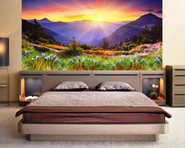 Изображение рассвета в горах на фотообоях