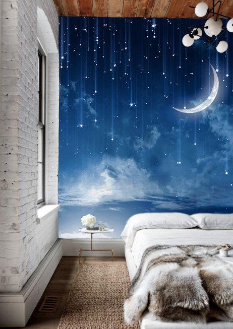 Фотообои со звездным небом и месяцем в спальне