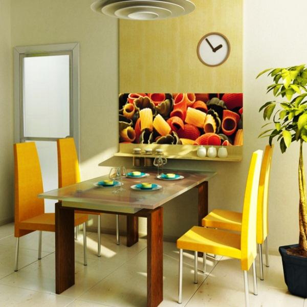 Композиция из цветных макаронных изделий на фотообоях кухни