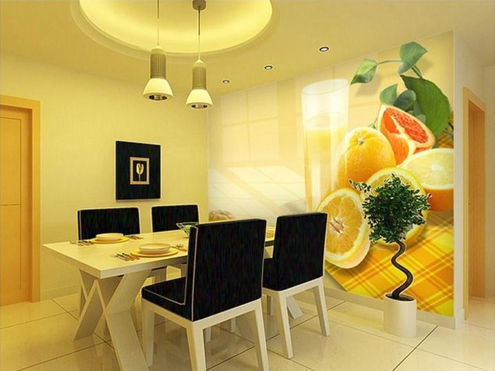 Фото цитрусовых фруктов и стакана сока на фотообоях кухни