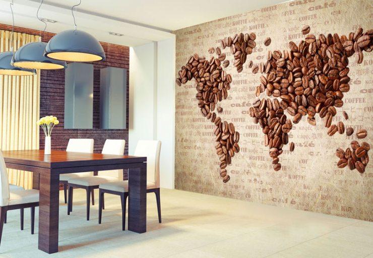 Изображение кофейных зерен в виде карты мира на фотообоях