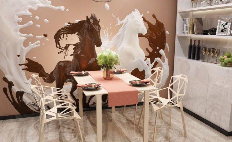 Изображение дизайнерских лошадей на фотообоях