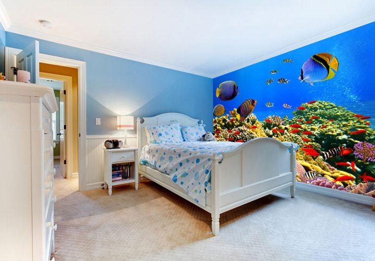 Изображение подводный мир на фотообоях в детской