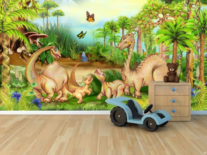 Изображение динозавров на фотообоях