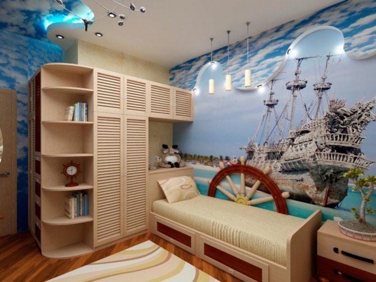 Репродукция корабля на фотообоях в детской