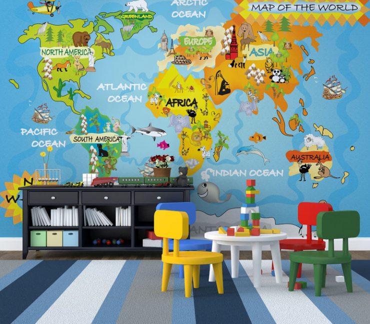 Карта мира на детских фотообоях