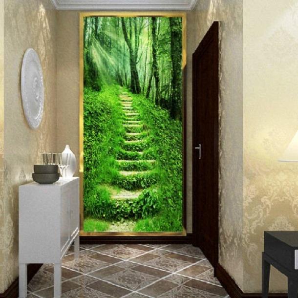 Изображение тропинки в лесу на фотообоях