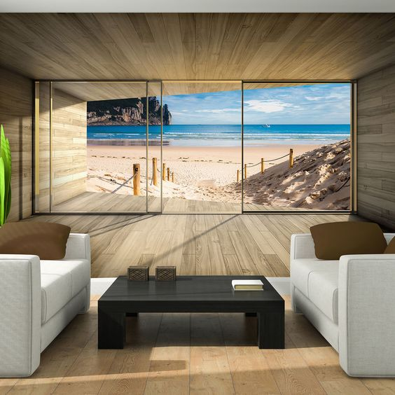 Изображение песчаного пляжа на фотообоях
