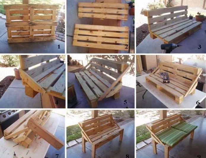 Пошаговое изготовление скамьи из деревянных поддонов своими руками